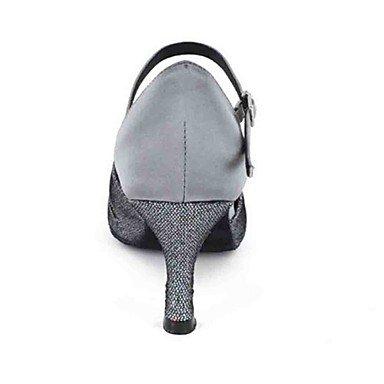 Scarpe da ballo-Personalizzabile-Da donna-Balli latino-americani Danza moderna-Tacco su misura-Finta pelle-Nero Blu Viola Grigio Tessuto Blue