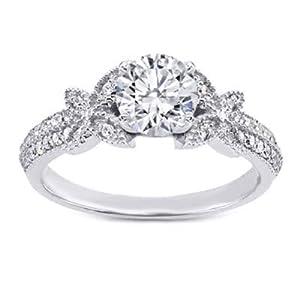 Damen-Ring/Ehering Moissanit 1,35 Karat Weißgold 14 Karat (750) Moissanit Größe P O K L J H G I N M