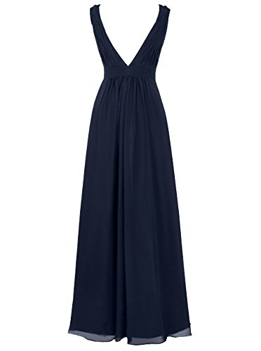Dresstells Damen Bodenlang Chiffon Promi-Kleider V-Ausschnitt Ärmellose Abendkleider Elfenbein
