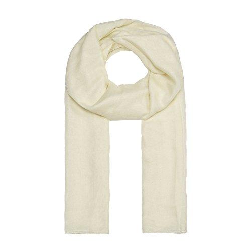 ManuMar Schal einfarbig | Hals-Tuch in Uni-Farben | einfarbig Creme als perfektes Sommer-Accessoire | klassischer Damen-Schal - Das ideale Geschenk für Frauen
