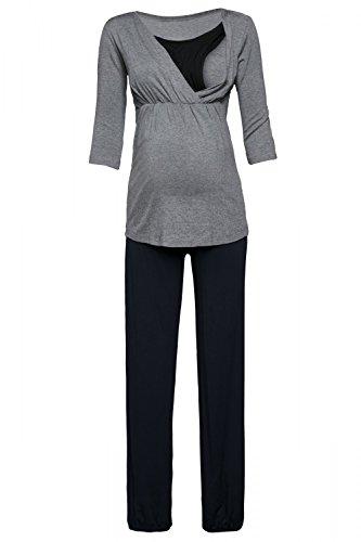 Happy Mama. Damen Umstandspyjama Stillfunktion Stillschlafanzug 3/4 Ärmeln. 060p (Grau Melange & Schwarz, EU 38, M) (3/4-Ärmel-empire Top)