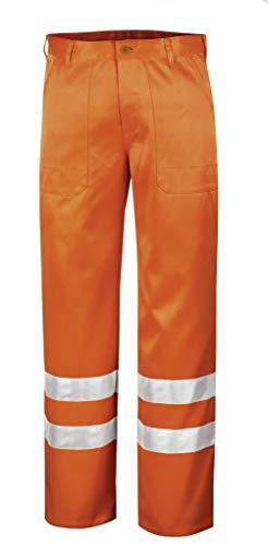 teXXor–Pantaloni da catarifrangente–vita Quebec lavoro pantaloni con strisce catarifrangenti, 48, colore arancione, 4305