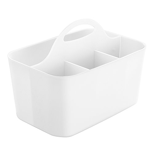 InterDesign Clarity Cutlery Flatware Caddy, Silverware, Utensil, and Napkin Holder - White