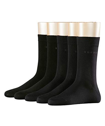 ESPRIT Damen Socken Solid 5-Pack, 80% Baumwolle, 5 Paar, Schwarz (Black 3000), Größe: 36-41
