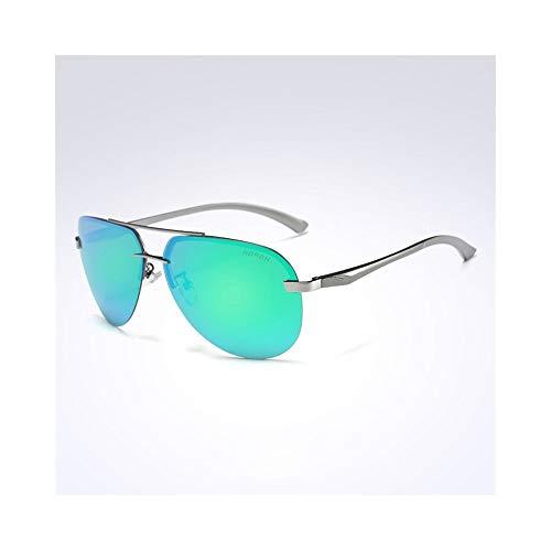 KYS Photochrome Sonnenbrillen Classic Aviator Sonnenbrillen Metallrahmen 100% UV-polarisierte Gläser Fahren Radfahren Angeln Brillen Unisex (Color : Green)