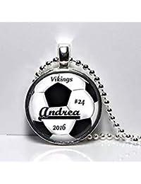 Collar o llavero personalizado de fútbol, diseño de trofeo de fútbol, regalo para el