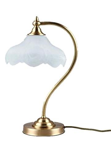 XXFFH Glühlampen Leuchtstofflampe Licht Fyn Modern Antique Messing & Dekorative Glas Schwanenhals Nachttisch Lampe 23 * 42Cm