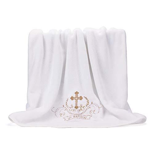 LACOFIA Taufe Handtuch Unisex Baby Taufe Decke, Weiß mit Gold Stickerei Kreuz, Personalisierte Geschenke für Jungen oder Mädchen, Volle Badetuch Größe 150 * 75 CM