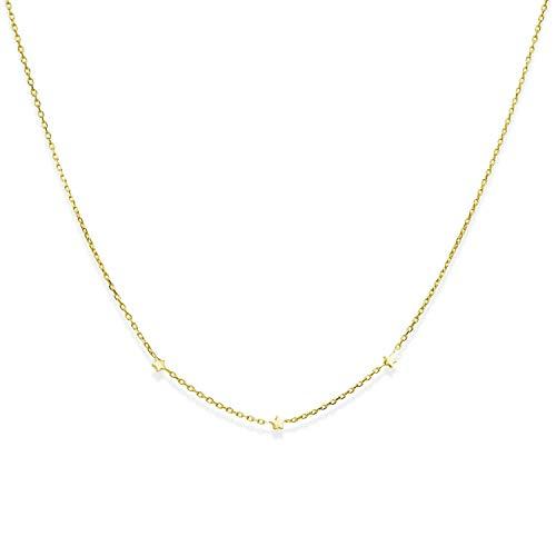 MATERIA feine Gold Kette mit Sternen Silber 925 - goldene Sternenkette vergoldet 42cm + 3cm Verlängerung CO-30