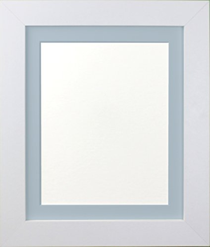 FRAMES BY POST, Bilderrahmen mit Befestigung, Schwarzweiß, holz, 39mm white frame with blue mount, 6