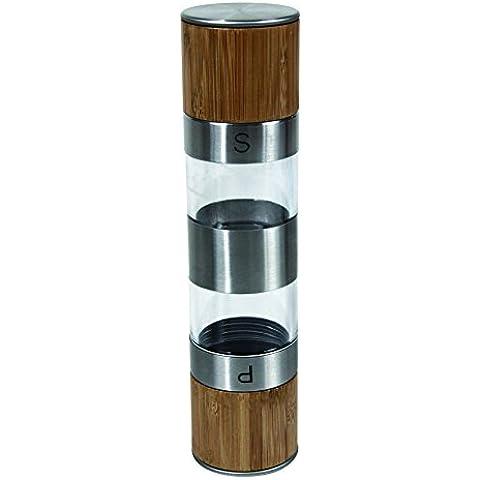 Unbranded 4960179 - Salpimentero de madera y metal, color marrón (6 x 25 x 26 cm)