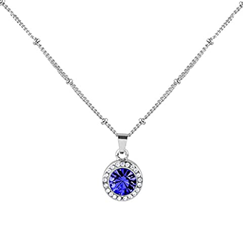 Lux Accessories Sapphire September Saphire Birthstone Pendant Disc Pave Charm Pendant Necklace Birthday Stone