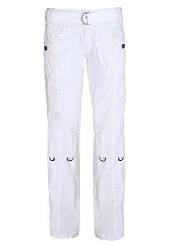 SUBLEVEL Damen Cargohose in schwarz und weiß | Leichte Frauen Trekkinghose kurz/lang verstellbar white L