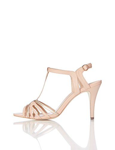 FIND Damen Halbhohe Absatz-Sandalen, Peach/ Rose Gold, 38 EU (Damen-gold-sandalen)