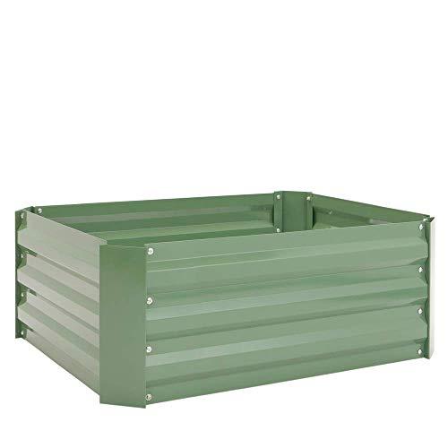 PrimeMatik - Metall grün Pflanzer Blumenkasten 100x60x30 cm