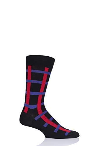 Pantherella Herren 835482 Halston Fensterscheibe Baumwolle Socken Packung mit 1 Schwarz 41-43 -