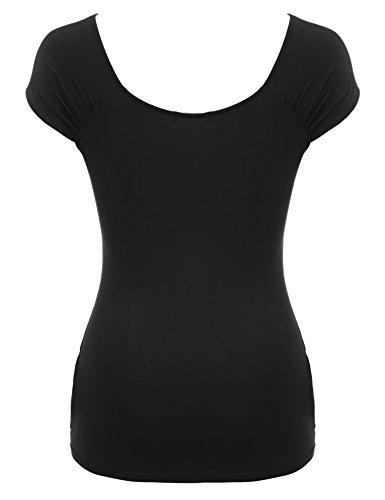 Parabler Damen Elegant Langarm/Kurzarm T-Shirt Stretch Obertail Tops mit Rüschen X-Schwarz