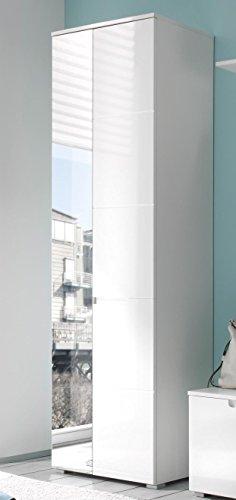 Avanti trendstore - spilla - armadio da ingresso con specchio e ante a battente, in laminato di colore bianco opaco e fronte in lucido, dimensioni: lap 60x198x40 cm