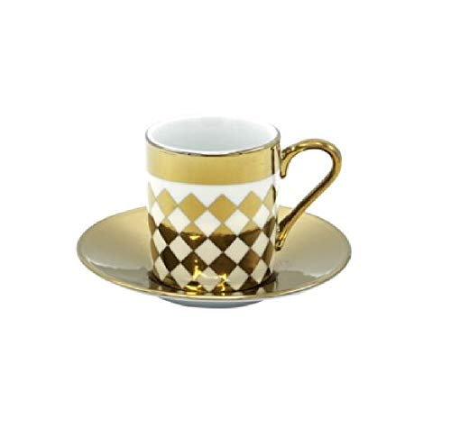 Porzellan Porzellan Espresso Turkish Coffee Demitasse 6er Set Tassen + Untertassen Metallic Gold fein Demi-tasse, 3 oz, 100 ml Diamonds Demi Demitasse Cup
