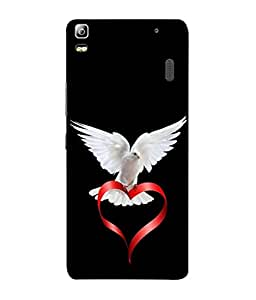 PrintVisa Designer Back Case Cover for Lenovo A7000 :: Lenovo A7000 Plus :: Lenovo K3 Note (Dove Freedom Purity Nature Feather White Red Black)