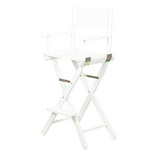 Jiangang shop-Hocker Haus Portable Klappstuhl 丨 Makeup Teleskop Künstler High-Footed Direktor Stuhl 丨 Holz Faltbare Outdoor Hochstuhl 丨 Tall Make-up Stuhl, weißes Bein (Farbe : Weiß) -
