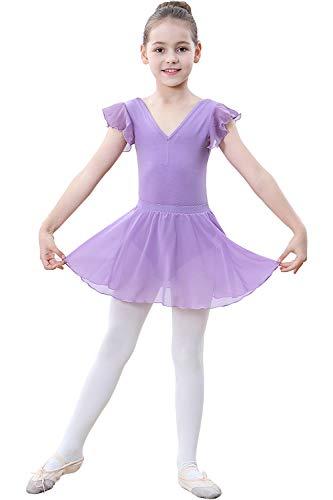 Zoerea Mädchen Ballettkleid Kurarm Ballettanzug Trikot Flowy Tutu Rock Ballettkleidung Set mit Strumpfhose Leggings Violett,120 Baumwolle Kurzarm-leggings