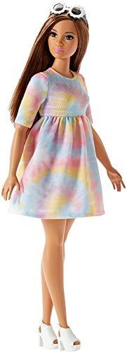 Barbie FJF42 Fashionista Puppe im Kleid in Batik-Style und Sonnenbrille