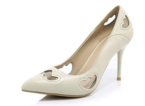 Beauqueen OL Pumps Hohle Hochzeitsfeier Leder Scarpin Anti-Rutsch High Heel Peep Toe Frauen Easy Match Limited Edition Freizeitschuhe EU Größe 34-39 , meters white , 39 (Shoe Court Pointed Leder)