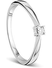 f0aa7f812076 Orovi Anillo Señora Solitario en Oro Blanco con Diamante Talla Brillante  0.05 ct Oro 9 Kt