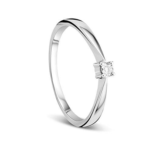 Orovi Anello Donna Solitario in Oro Bianco con Diamante Taglio Brillante Ct 0.05 Oro 9 Kt / 375