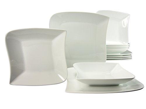 Creatable 19797Serie Sydney Juego de vajilla–Servicio de Mesa (12Piezas, Porcelana, Blanco, 39x 28,5x 29,5cm, 12Unidades