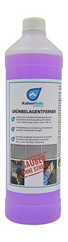 KaiserRein Profi Grünbelagentferner Moosentferner Algenentferner extrem ergiebiges Konzentrat 1L ergibt 20 L (für bis zu 200 m²) Grünspan-Entferner, Terrasse, Fassade, Beton, Stein