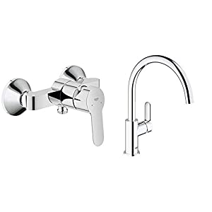 Grohe BauEdge – Grifo para ducha y baño con sistema de montaje en pared e inversor automático. Incluye sistema de ahorro…