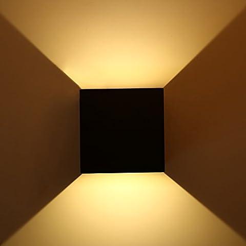 Topmo 7W LED Wandlampe mit einstellbar Abstrahlwinkel Wasserdichte IP65 Wandbeleuchtung 2700K Warmweiß Quadrat LED Außenwandleuchten (schwarz)