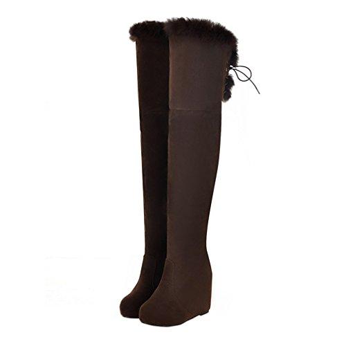 ENMAYER Femmes Nubuck Cuir Femmes Sur-Le-Genou Bottes Round Toe Wedges avec Winter Fur Boots Marron