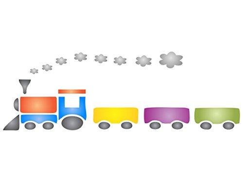 Zug Schablone–wiederverwendbar Kinderzimmer Spielzeug Baby Boy Wand Schablone–Vorlage, auf Papier Projekte Scrapbook Tagebuch Wände Böden Stoff Möbel Glas Holz etc. L