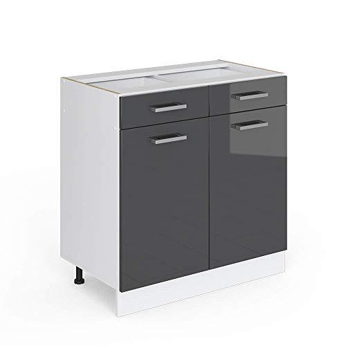 Vicco Küchenschrank R-Line Küchenzeile Hängeschrank Unterschrank Küchenschränke Küchenunterschrank Arbeitsplatte (anthrazit ohne Arbeitsplatte, Schubunterschrank 80 cm)