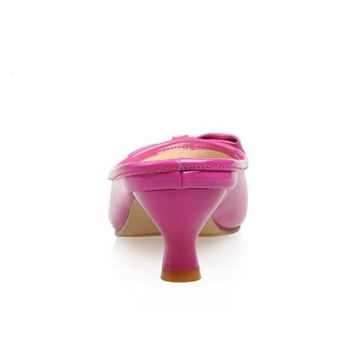 VogueZone009 Damen Rein Pu Leder Niedriger Absatz Fischkopf Schuhe Ziehen Auf Sandalen Rosa