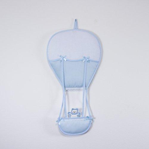 Coccole- fiocco nascita coccarda per nascita mongolfiera- azzurro - 0 mesi con nome personalizzato