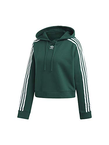 adidas Damen Cropped Hooded Sweatshirt, Collegiate Green, 48 -