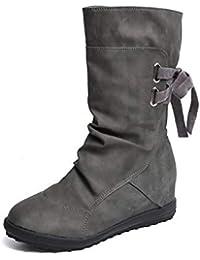 Stivaletti Donna Tacco Piatto Eleganti Pelle Alti Stivali Calzature Anfibi  Inverno 5d772a830fc