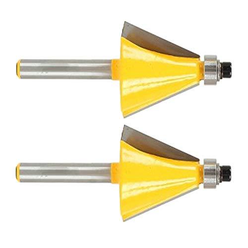 FLAMEER 22,5 Dergee Fase Bevel Beading Kantenfräser Bit 1 / 4in Shank DIY Holzbearbeitungswerkzeuge 2St -