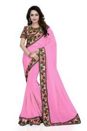 Sarees(DIYA Fashion New Disigner Georgette Party Wear Saree With Blouse Piece , Bollywood Designer Saree, Latest Collection Designer,Bollywood Designer Sarrees For Women(Light Pink Peacock Patta With Hand Work)  available at amazon for Rs.449