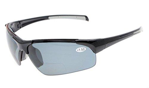 Eyekepper TR90 Unbreakable Sport Halbrandlose Bifokale Sonnenbrille Baseball Laufen Angeln Fahren Golf Softball Wandern Schwarzer Rahmen Graue Linse +2.25