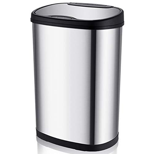 Cubo de Basura Automático - 13 Gallon / 50L Cubo de Basura con Sensor Automatico de Reciclaje Acero Inoxidable Sensor de Movimiento por Infrarrojos Sin Contacto Automático Cocina de Basura