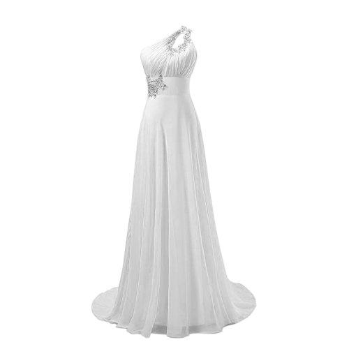 Fashion Plaza Chiffon elegant sexy Maxikleider Brautjungfern mit einem Strass besetzten eleganten Schulterträger D031 Weiß