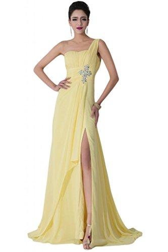 Sunvary Elegant 2015 Neu Ein-Traeger Chiffon Schlitz Falte Abendkleid Lang  Partykleider Gelb
