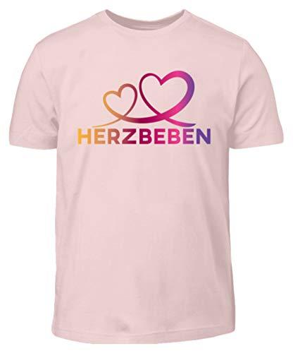 Herzbeben - Bunte Herzen - Liebe Helene - Kinder T-Shirt -7/8 (122/128)-Pink Sixties