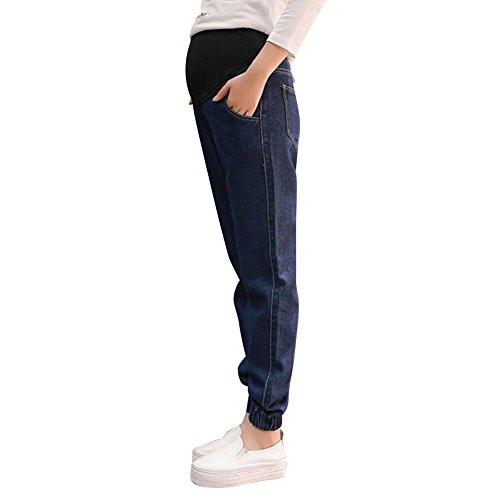 Highdas schwangere Frauen-lose Bauch-gerade Jeans mit justierter Taille beil?fig / L (Jeans Gerade Lose)