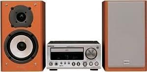 Chaîne hi-fi design Onkyo CS-220 Ampli-tuner-CD avec enceintes, tuner RDS, amplification WRAT 2x25W, compatible MP3, convertisseur N/Ade type Wolfson, façade aluminium, sortie caisson de grave et programmateur